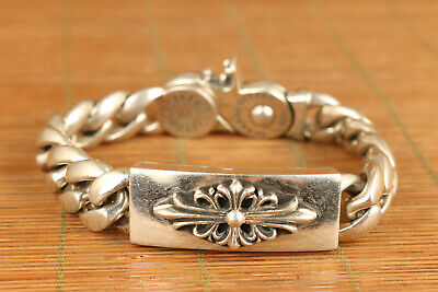 133g chinese old s925 solid silver carved flower bracelet noble gift