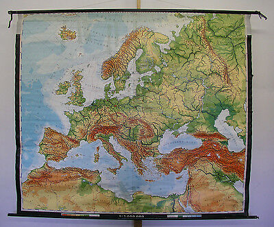 Beautiful Old Schulwandkarte Europakarte 205x177 School Map 1977 Vintage Loft