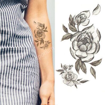 Temporary Tattoo Black Grey Rose Flower Fake Body Art Sticker Waterproof Ladies