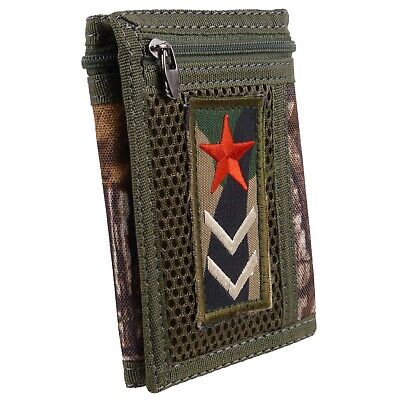 Camo Mens Boys Teens Kids Tri-Fold Canvas Wallet Cards Red Star