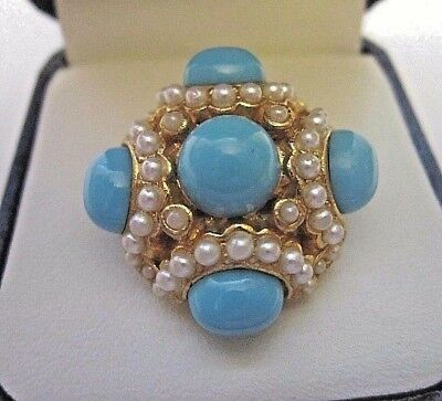 Vintage1980s fashion jewellery turquoise & pearl fashion ring fabulous statement