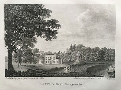 1792 Antique Print; Wiseton Hall, near Bawtry, Nottinghamshire after Miss Acklom