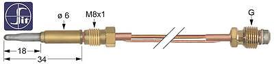 Thermocouple with 2 Conductors and Cable Length 1500mm M8x1 M10x1