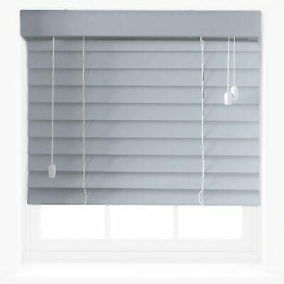 Luxury Grey Faux Wood 50mm Venetian Blinds Made to Measure Up to 240cm x 210cm