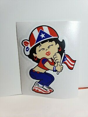 PUERTO RICO DECAL STICKER GIRL HOLDING PUERTO RICAN FLAG