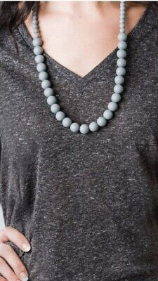 Green and White Silicone Teething Breastfeeding Necklace Chewable Beads 1707