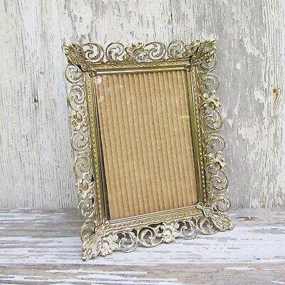 Vintage Metal Filigree 5 x 7 Picture Frame with Easel Back Weddings Shabby Decor