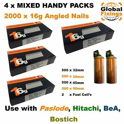 MIXED 2000 16g ANGLED 20° Nails 32mm,38mm,45mm,50mm  & 2 Fuel Cells-Paslode