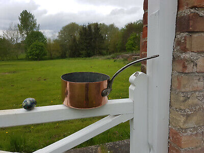 Antique French Heavy Copper and Iron Saucepan Pot Kitchen Genuine Vintage