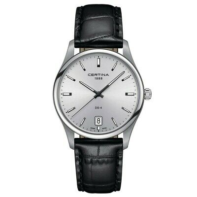 Certina DS-4 men watch Big Size Silver dial leather strap C0226101603100