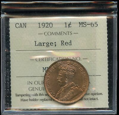 1920 One Cent - ICCS MS-65, Red. Large Penny