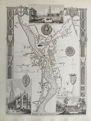 1841 Genuine Antique Map; Plan of Boston, Lincolnshire by Thomas Moule