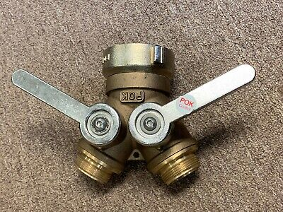 "Pok Control Brass Fire Hose Adapter 2.5"" Inlet X (2) 1.5"" Outlet Nos"