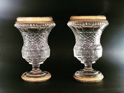French Crystal Vase with Ormolu Mount Antique Empire