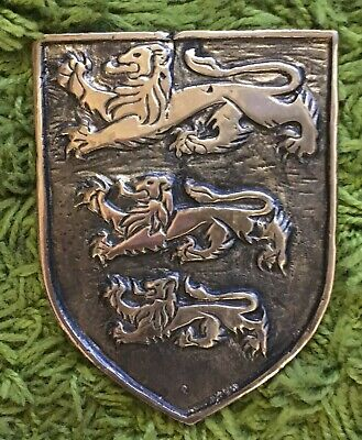 Solid Bronze Richard The Lionheart Three Lions Shield Antique Finish Hand Cast