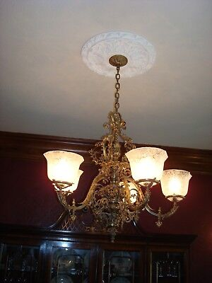 Antique French Victorian Bronze Chandelier Circa 1890's in great condition