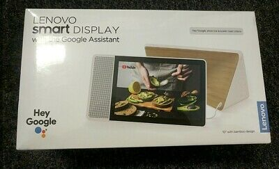 "NEW Lenovo 10"" Smart Display with Google Home Assistant  White Front/Bamboo Back"