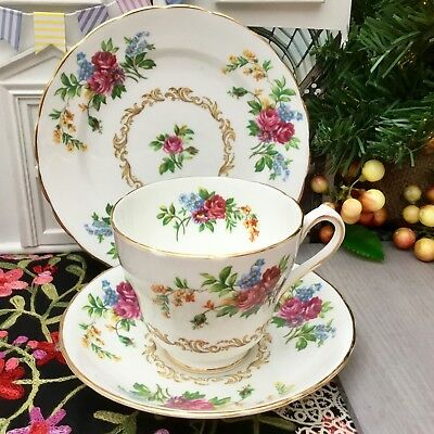 NEW CHELSEA 1940s BONE CHINA TRIO CUP SAUCER PLATE SET - PINK ROSE FLORAL GILDED