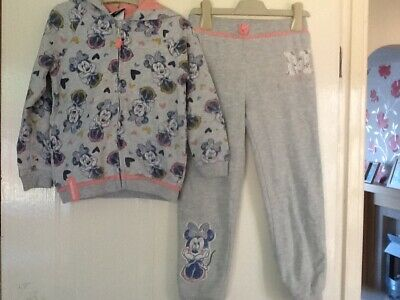 Disney @ George Asda Girls 4-5-6 Y Grey Minnie Mouse Tracksuit Top & Joggers