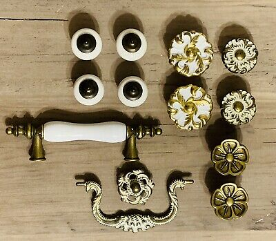 Vintage Brass Stone Drawer Pulls Cabinet Knobs Ornate Lot of 13