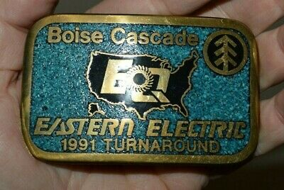 Vintage BOISE CASCADE Eastern Electric Turquoise Inlaid Brass Belt Buckle MINTY