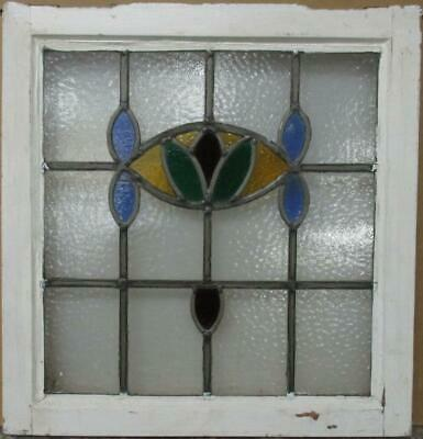 "OLD ENGLISH LEADED STAINED GLASS WINDOW Gorgeous Abstract Design 20"" x 21"""