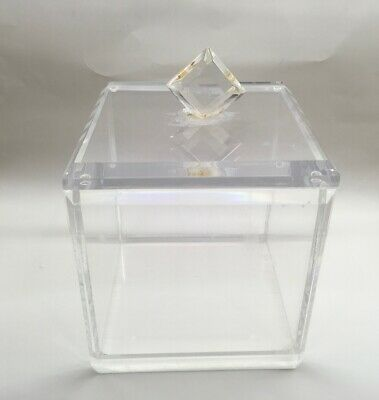 Mid Century Hollywood Regency Heavy Thick Lucite Box Lid Ice Bucket