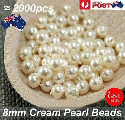 2000 X Pearl  Beads 8mm Cream Imitation Plastic Round Pearl Spacer Wedding Party