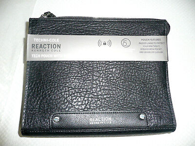Kenneth Cole Black IPad Travel Pouch RFID Security Blocking w/ Earbud Reaction