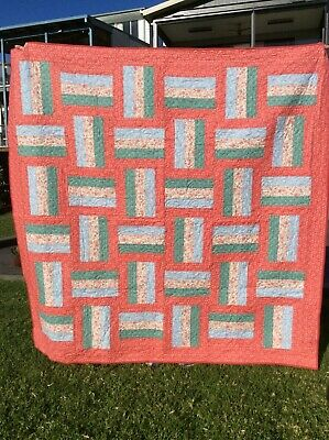 Handmade patchwork Quilt. Apricot retro  Rail Fence (#59)