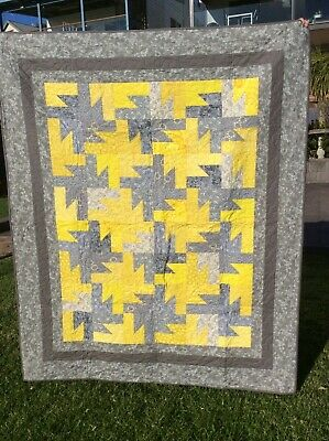 Handmade patchwork Quilt.Grey and yellow starburst  (#62)