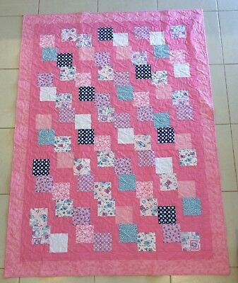 Handmade patchwork quilt Pink charms (#66)
