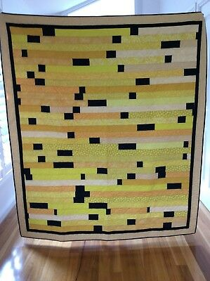 Handmade patchwork Quilt. Yellow jelly roll race(#75)
