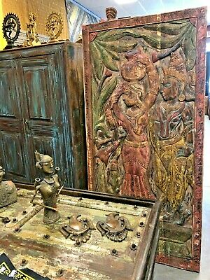 Indi Boho Carved Wood Barn Door Rustic Vintage Soho Eclectic Art Wall Sculpture