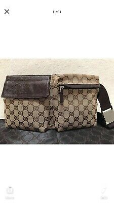 92b500541b14 GUCCI AUTHENTIC WAIST Pouch Bumbag Belt Bag Fanny Pack Brown Vintage ...