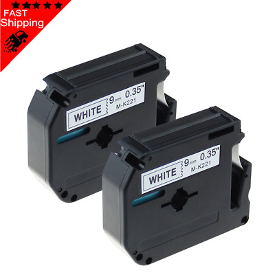 2 Pack Compatible Brother P-touch M-K221 9mm 8m Black on White for PT-90 printer