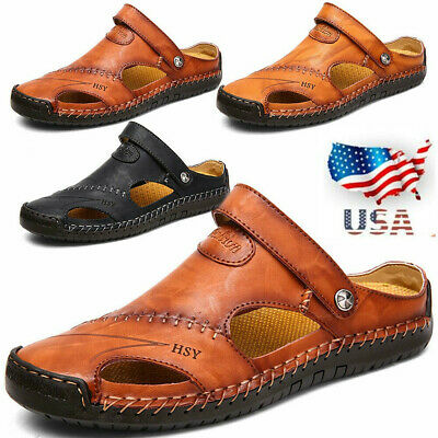US Men's Outdoor Sandals Hiking Genuine Leather Fisherman Shoes Waliking Summer