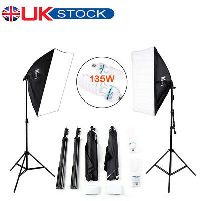 2x 135W Softbox Photography Studio Continuous Lighting Soft Box Light Stand Kit