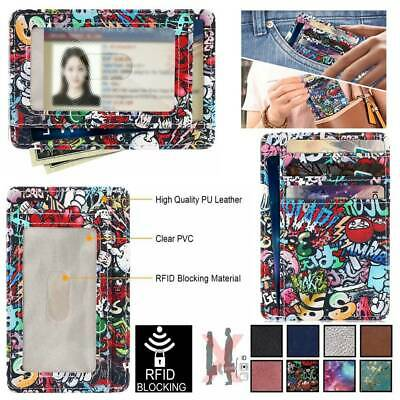 RFID Blocking PU Leather Credit Card Holder Wallet Protector Safety Case Cover