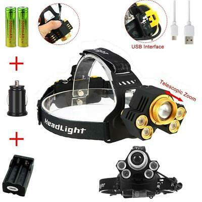 Zoomable 90000LM  5 LED USB Headlight 5 Modes Light 18650 Battery Charger BR
