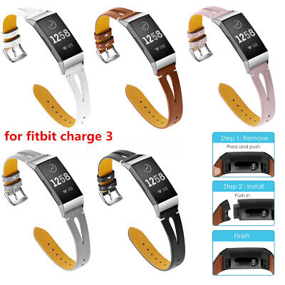 Fitbit Charge 3 Replacement Bands Classic Genuine Leather Wristband Strap Bands