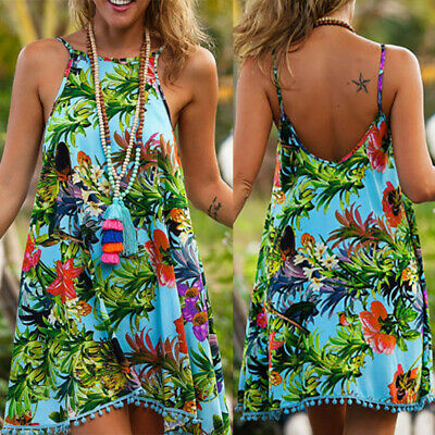 Sexy Womens Summer O Neck Floral Printed Sleeveless Beach Evening Party Dress