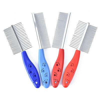 1x stainless steel comb hair brush shedding flea for cat dog pets trimmer gro G$