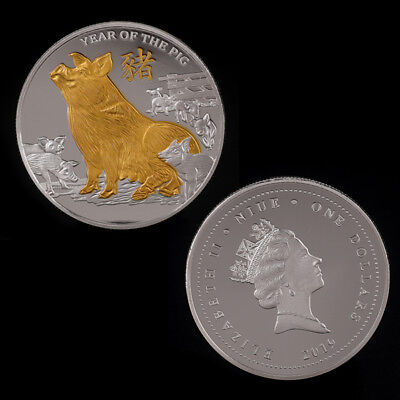 Pig Gold Plated Coin Commemorative Coins Challenge Year of Pig Good luck 2019 G$