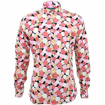 Mens Shirt Loud Originals TAILORED FIT Dotty Brown Retro Psychedelic Fancy