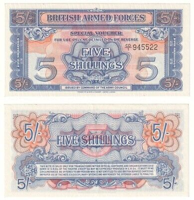 British Armed Forces 5 Shillings note (1948) Pick ref: M20b - EF.