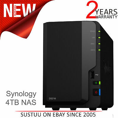 Synology DS218 4TB (2 x 2TB WD RED) 2 Bay Desktop NAS Unit│Office & Home Users