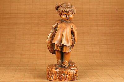 big chinese old boxwood hand carved lovely girl statue netsuke collectable