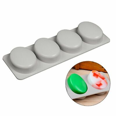 4-Cavity 3D Oval Shaped Silicone Soap Mold Handmade Bar DIY Mould Baking Tool