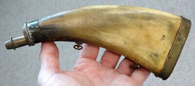 Antique CIVIL WAR ERA / HUNTING Brass Trim BLACK POWDER HORN / Bovine Cow Flask
